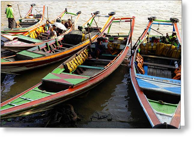 Watertaxis At The Yangon River Nan Thida Ferry Terminal Yangon Myanmar Greeting Card