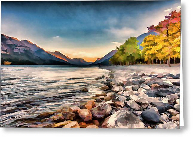 Waterton Lake In Autumn Colours Greeting Card by Ron Harris
