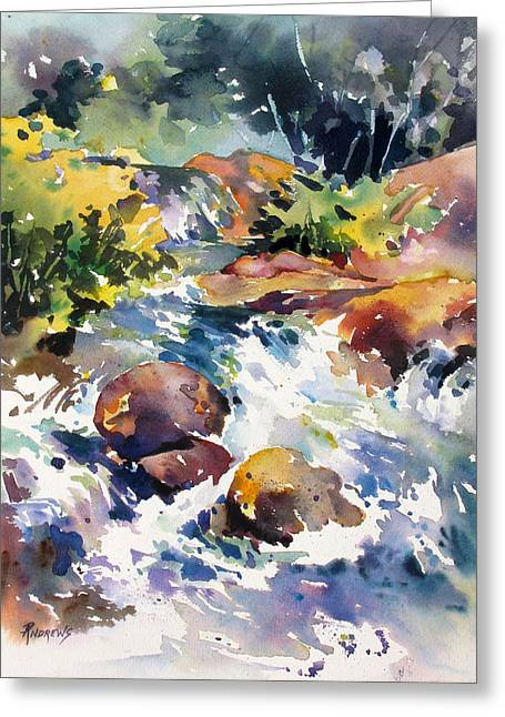 Watery Respite Greeting Card by Rae Andrews