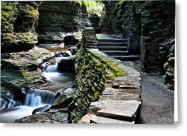 Watkins Glen Exiting The Trail Greeting Card by Frozen in Time Fine Art Photography