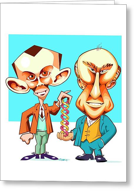 Watson And Crick Greeting Card by Gary Brown