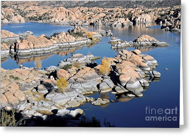 Watson Lake And The Granite Dells Greeting Card by Jim Chamberlain