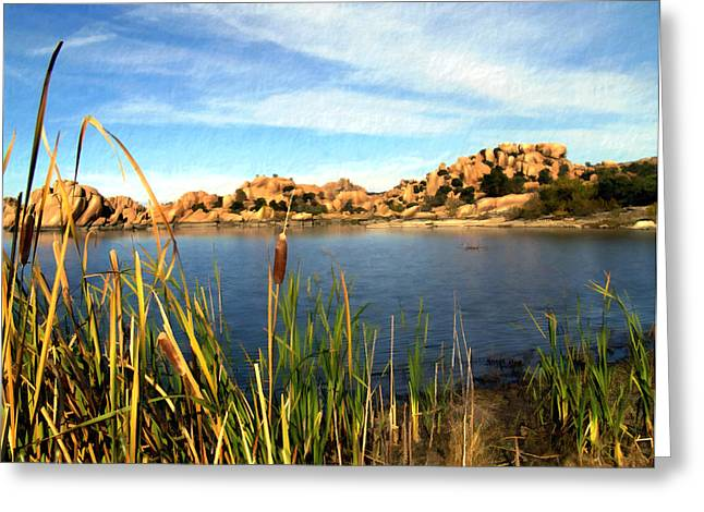 Watson Lake Greeting Card by Kurt Van Wagner
