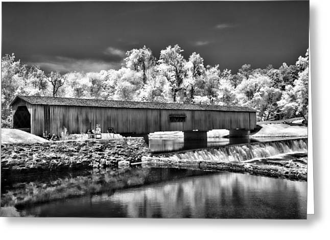 Watson Mill Covered Bridge In Infrared Greeting Card by Linda Mcfarland