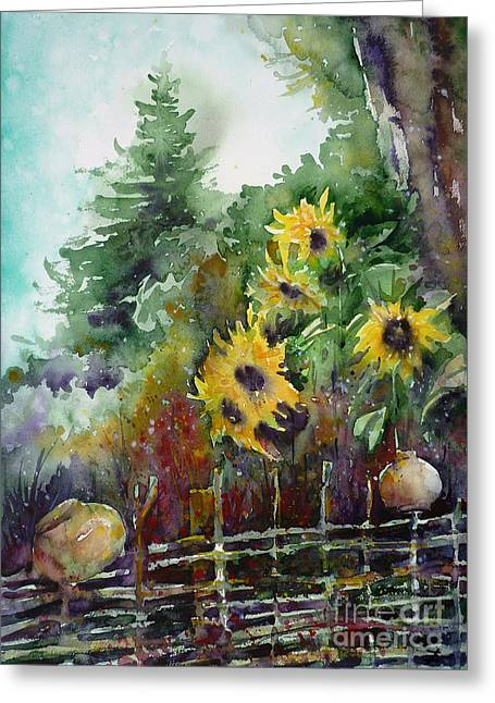 Wattle Fence Greeting Card by Zaira Dzhaubaeva