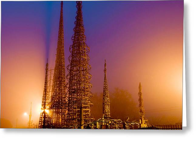 Watts Towers At Night, Watts, Los Greeting Card by Panoramic Images