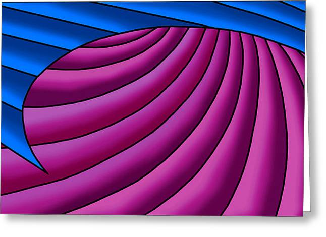Greeting Card featuring the digital art Wave - Blue And Plum by Judi Quelland