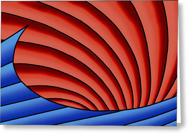 Greeting Card featuring the digital art Wave - Blue And Red by Judi Quelland