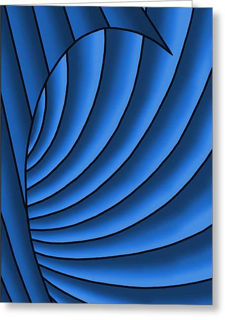 Greeting Card featuring the digital art Wave - Blues by Judi Quelland