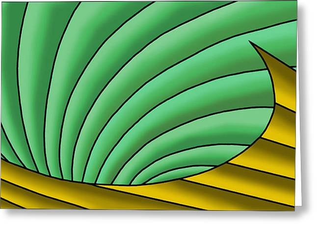 Greeting Card featuring the digital art Wave  - Gold And Green by Judi Quelland
