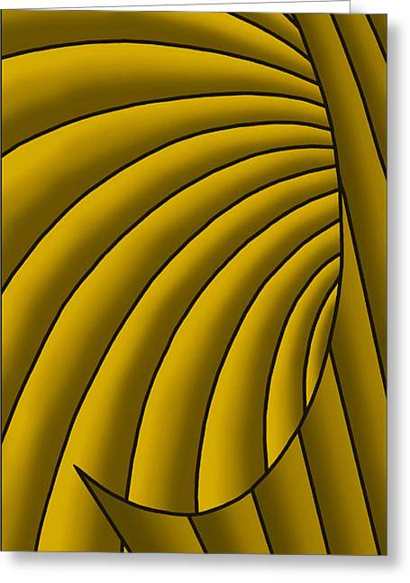 Greeting Card featuring the digital art Wave - Golds by Judi Quelland