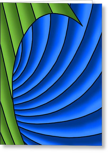 Greeting Card featuring the digital art Wave - Green And Blue by Judi Quelland