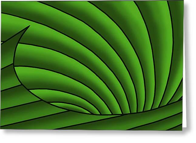Greeting Card featuring the digital art Wave - Greens by Judi Quelland
