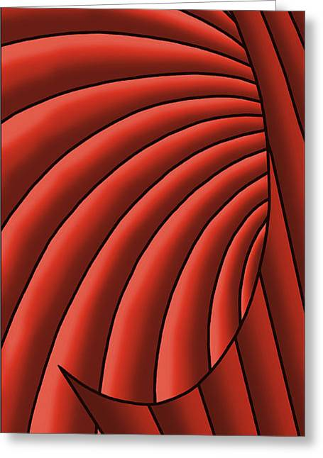 Greeting Card featuring the digital art Wave - Reds by Judi Quelland