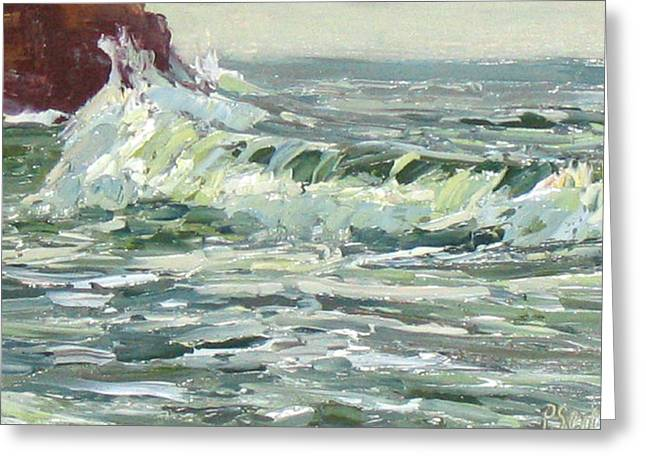 Wave Action Greeting Card by Patricia Seitz