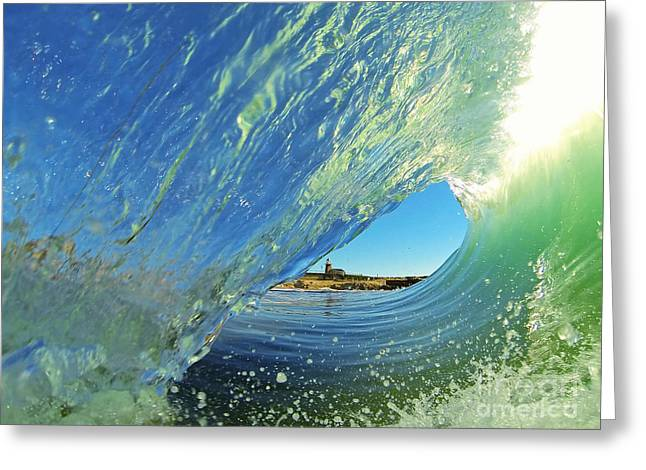 Greeting Card featuring the photograph Wave And Lighthouse 2 by Paul Topp