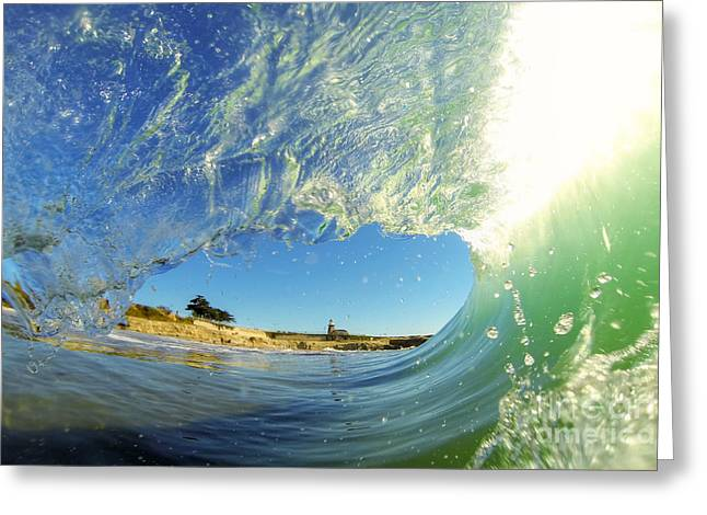 Greeting Card featuring the photograph Wave And Lighthouse 3 by Paul Topp