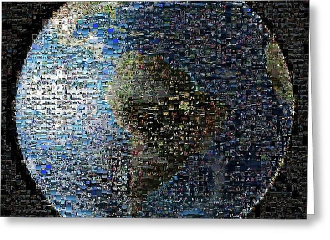 Wave At Earth Mosaic Greeting Card