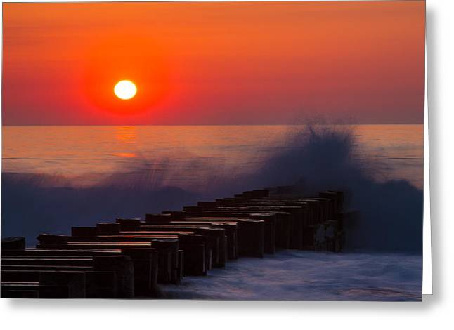 Breaking Wave At Sunrise Greeting Card by Allan Levin