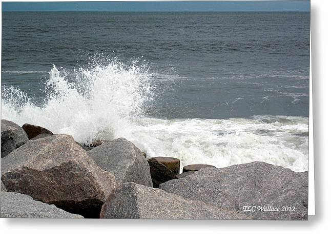 Wave Breaks On Rocks Greeting Card by Tammy Wallace