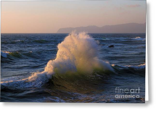 Wave Collision Greeting Card by Mike Dawson