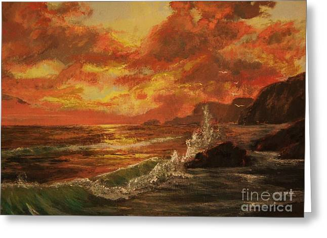 Greeting Card featuring the painting Wave Crash by Vanessa Palomino