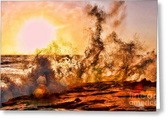 Wave Crasher La Jolla By Diana Sainz Greeting Card