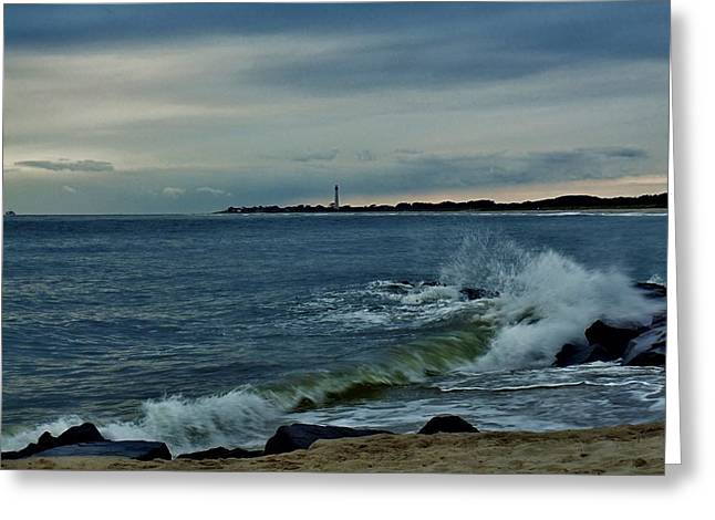Greeting Card featuring the photograph Wave Crashing At Cape May Cove by Ed Sweeney