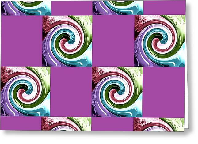 Greeting Card featuring the digital art Wave Of Purple 2 by Ann Calvo