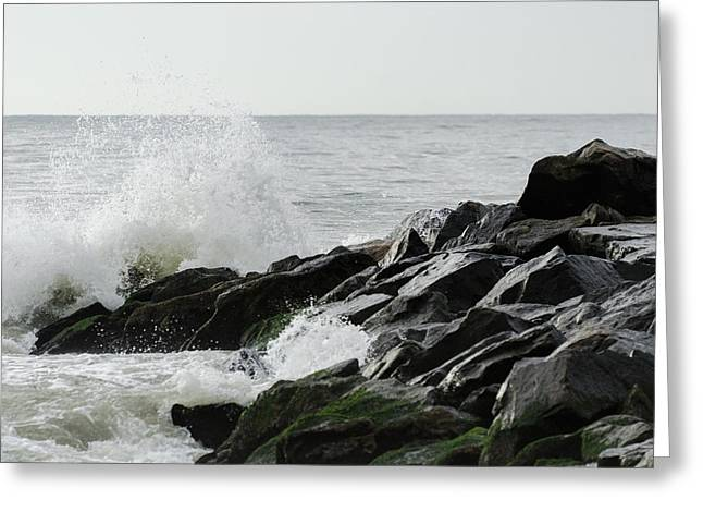 Wave On Rocks Greeting Card