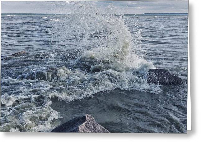 Greeting Card featuring the photograph Wave Splash by Nikki McInnes