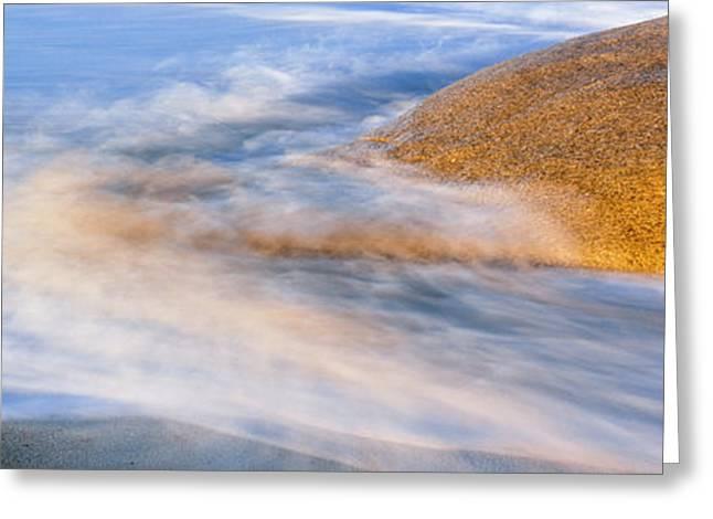 Wave Striking A Granite Boulder, Lands Greeting Card by Panoramic Images
