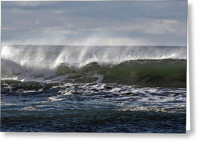 Wave With Wind Greeting Card by Michael Bruce