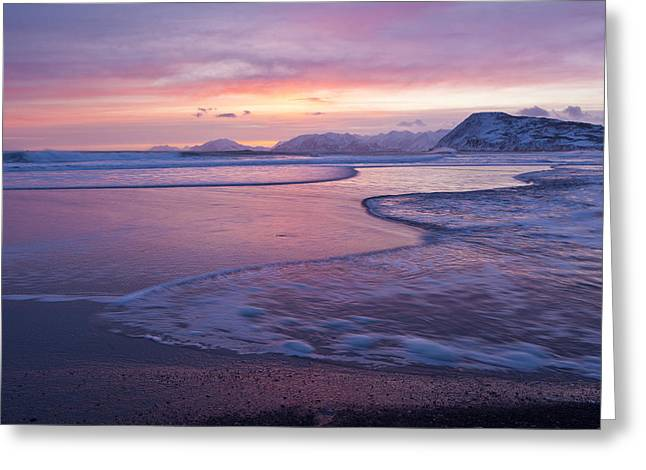 Waves Across A Sand Bar Greeting Card by Tim Grams