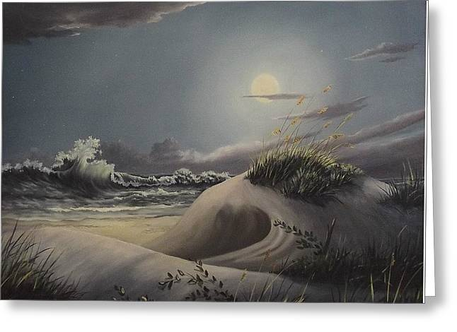 Waves And  Moonlight Greeting Card