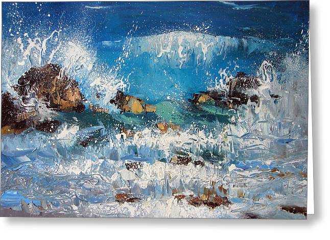 Waves And Stones Greeting Card