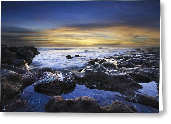 Waves At Coral Cove Beach Greeting Card by Debra and Dave Vanderlaan