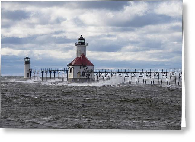 Waves At St Joseph Lighthouse  Greeting Card by John McGraw
