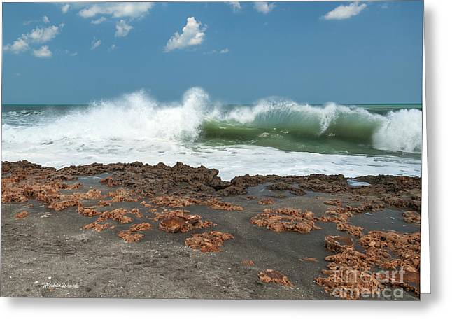 Waves At Work Greeting Card by Michelle Wiarda