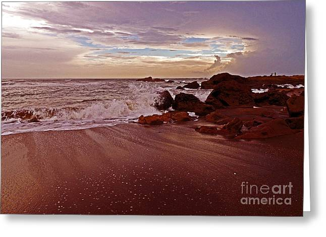 Waves Break Hands Shake Greeting Card
