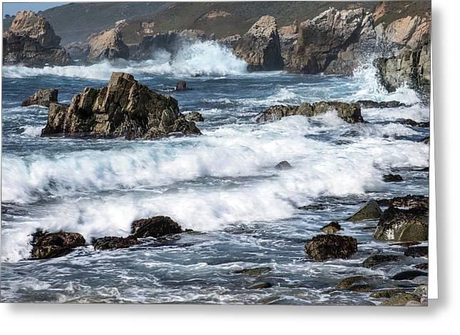 Waves Break On Rocky Coast Greeting Card by Tom Norring