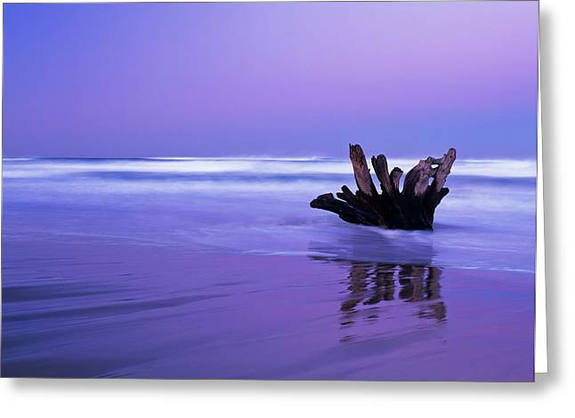 Waves Break On The Beach At Dawn Greeting Card