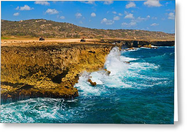 Waves Breaking At The Coast, Aruba Greeting Card by Panoramic Images