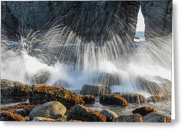 Waves Breaking On Rocks, Harris Beach Greeting Card by Panoramic Images