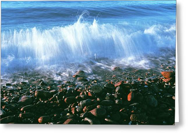 Waves Breaking On The Beach, Mulege Greeting Card by Panoramic Images