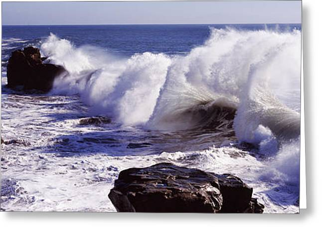 Waves Breaking On The Coast, Santa Greeting Card by Panoramic Images