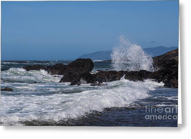 Waves Breaking On The Rocks Greeting Card by Mandy Judson