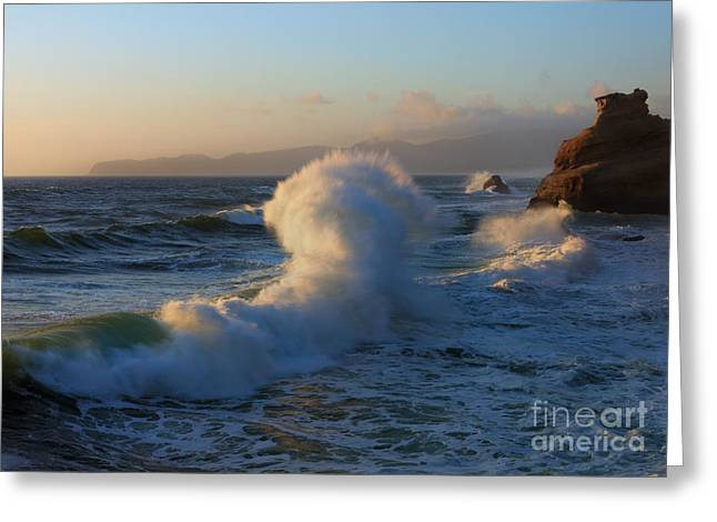 Waves Collide Greeting Card by Mike Dawson