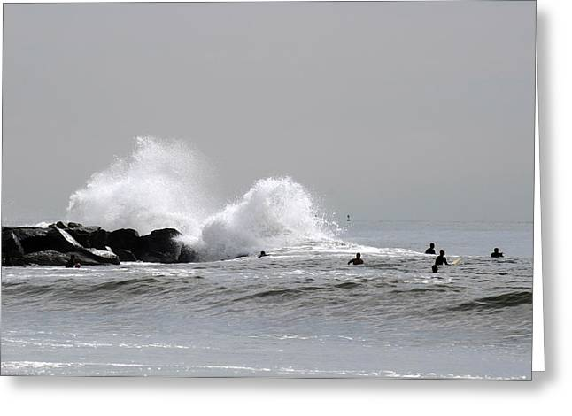 Waves Crash Against Beach 91st Jetty Greeting Card