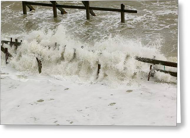 Waves Crashing Against The Sea Defences Greeting Card by Ashley Cooper